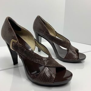 Michael Kors heel snakeskin pattern leather